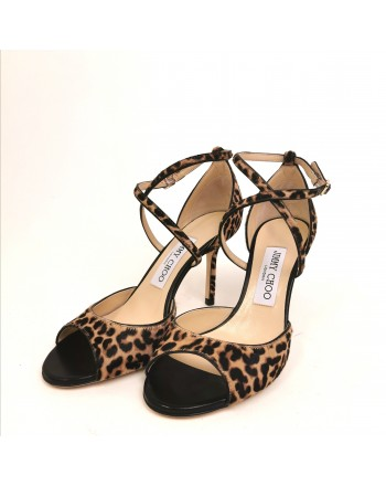 JIMMY CHOO - Crossed print Leo Sandal   - Natural mix