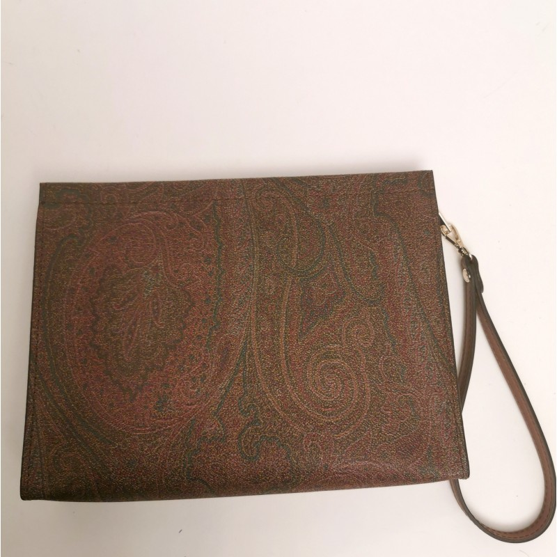 ETRO- Leather Wristlet Bag- Paisley