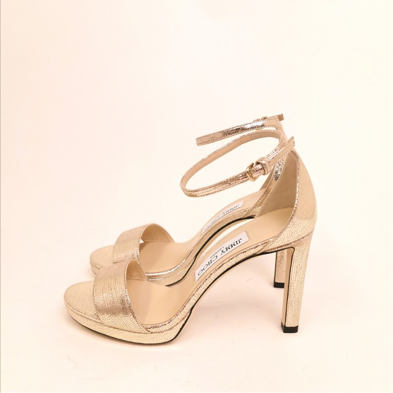 JIMMY CHOO - Sandalo Misty100 - Light Gold
