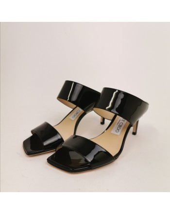 JIMMY CHOO - Polished  Leather Mules  - Black