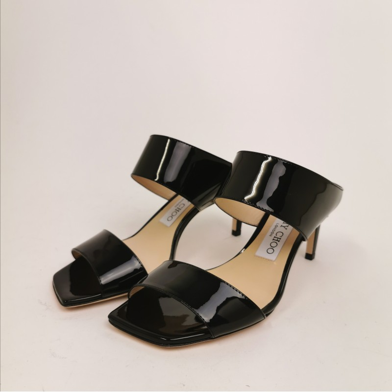 JIMMY CHOO - Polished  Leather Mules  - Black