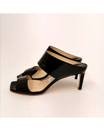 JIMMY CHOO - Sabot in Pelle lucida - Nero