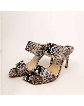 JIMMY CHOO - Snakes print Mules  - Multimix