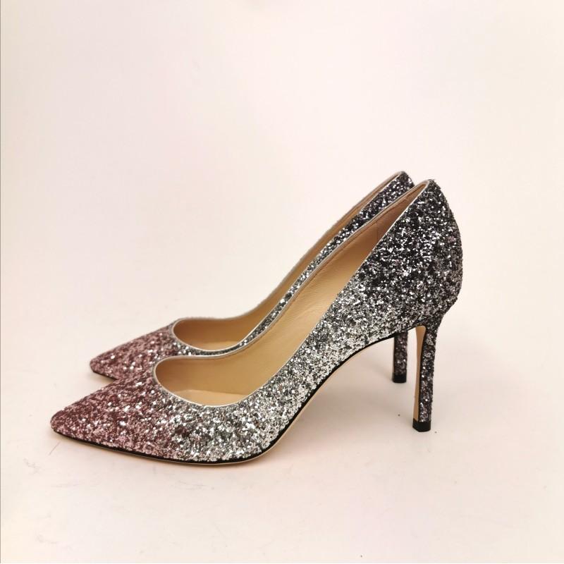JIMMY CHOO - Glitter Décolleté - Pink/Silver