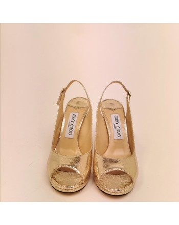 JIMMY CHOO - Sandalo open toe with platform  - Light Gold