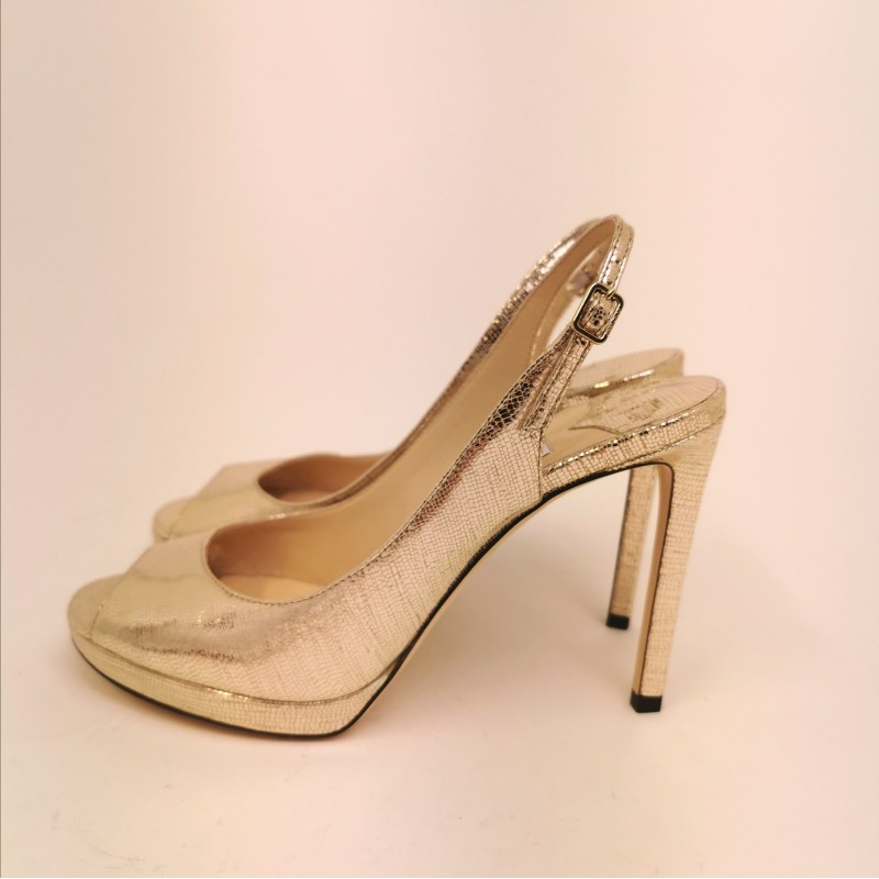 JIMMY CHOO - Sandalo open toe with platform  - Light Gold