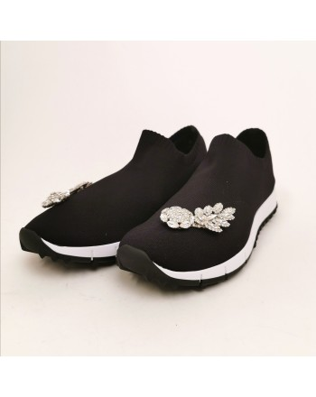 JIMMY CHOO - Tech fabric jewel sneaker - Black