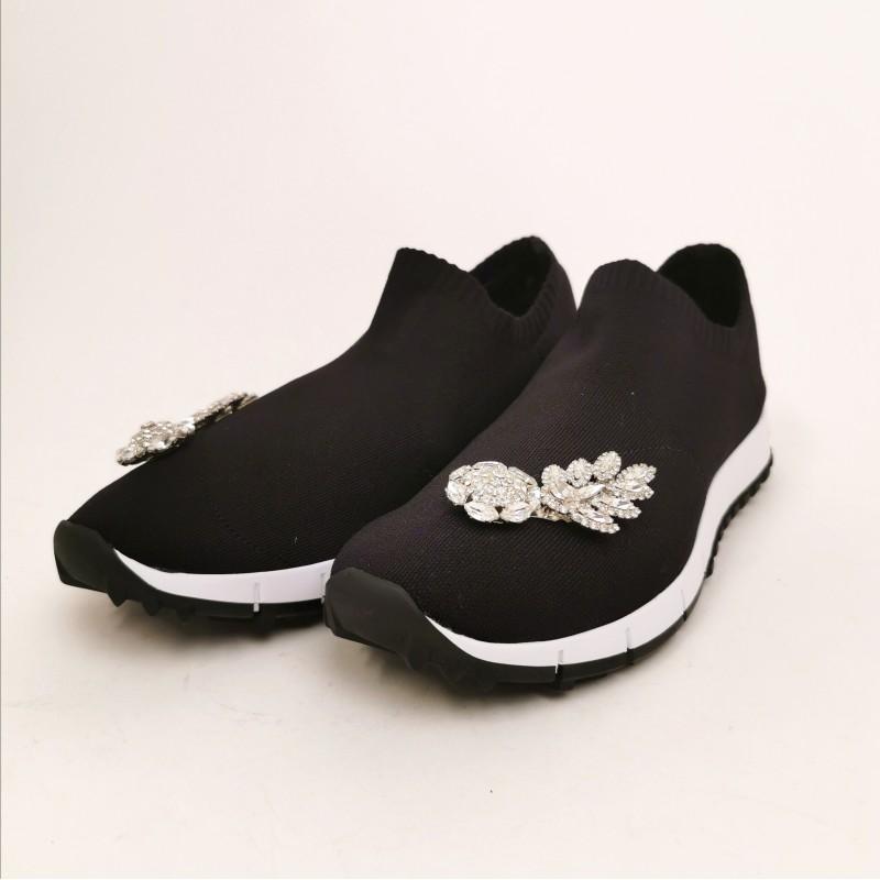 JIMMY CHOO - Sneaker in tessuto tecnico con gioiello - Nero