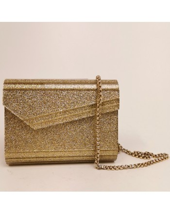 JIMMY CHOO - Glitter Gold Clutch - Gold