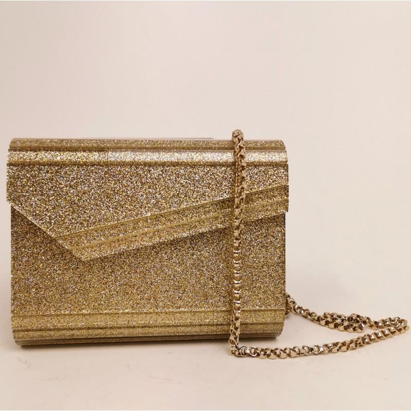 JIMMY CHOO - Glitter Gold Clutch - Gold