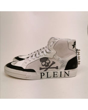 PHILIPP PLEIN - Sneakers in Pelle con Logo e Borchie - Bianco