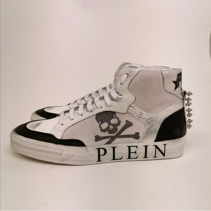 PHILIPP PLEIN - Sneakers in Pelle con Logo e Borchie - Bianco