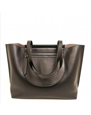 TOD'S - Borsa Shopping con tasche laterali in pelle - Nero