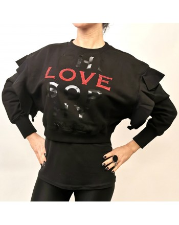 PHILOSOPHY di LORENZO SERAFINI - LOVE Logo Short Sweatshirt with Frills - Black