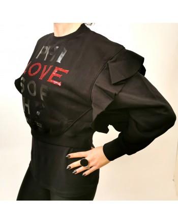 PHILOSOPHY di LORENZO SERAFINI - Felpa Logo LOVE Corta con Balze - Nero