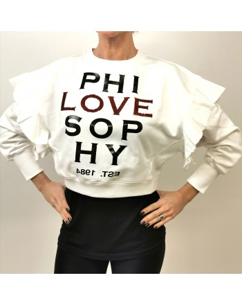 PHILOSOPHY di LORENZO SERAFINI - LOVE Logo Short Sweatshirt with Frills - White