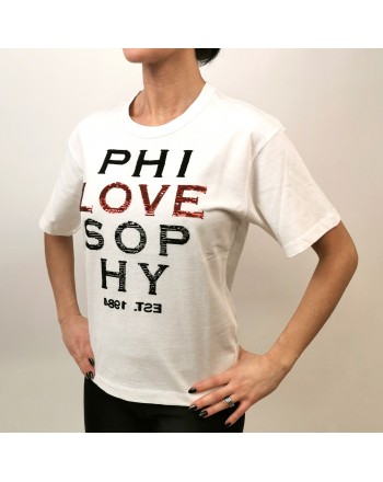 PHILOSOPHY di LORENZO SERAFINI - Cotton T-Shirt with LOVE Logo - White