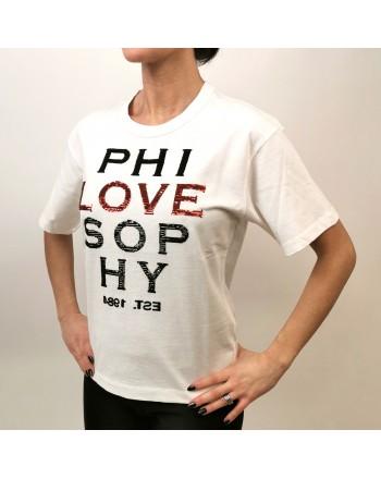 PHILOSOPHY di LORENZO SERAFINI - T-Shirt Logo LOVE  - Bianco