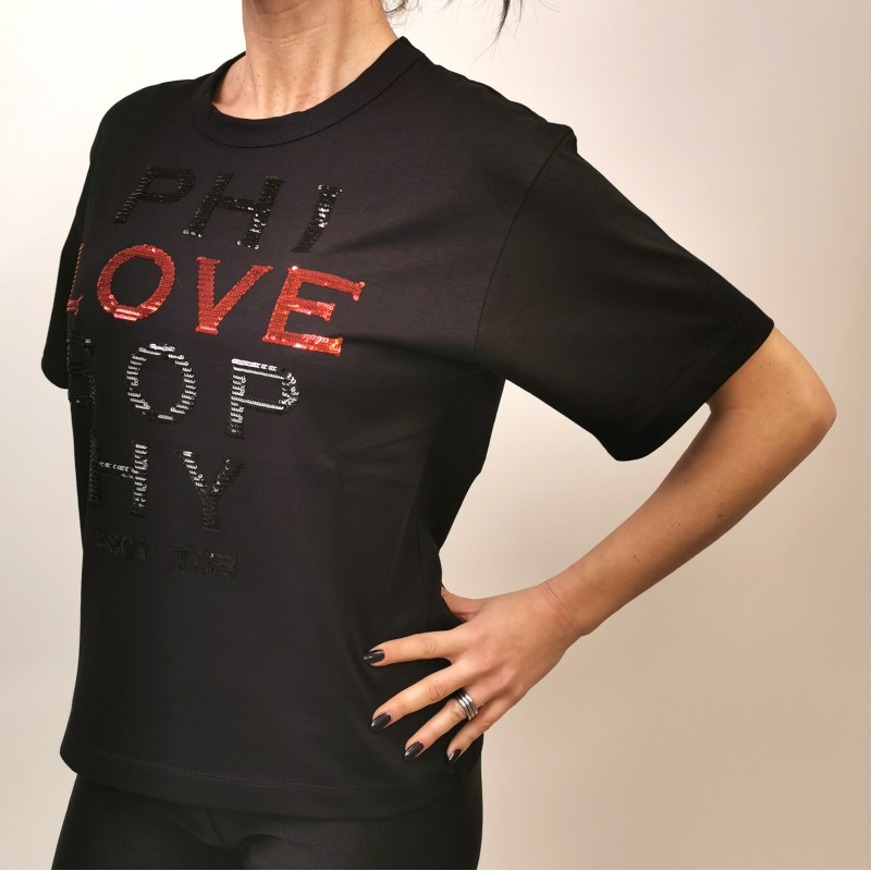 PHILOSOPHY di LORENZO SERAFINI - Cotton T-Shirt with LOVE Logo - Black