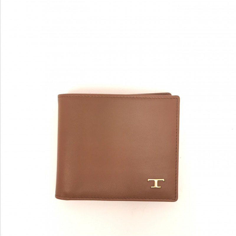 TOD'S - Leather Metallic T Wallet - Light brown