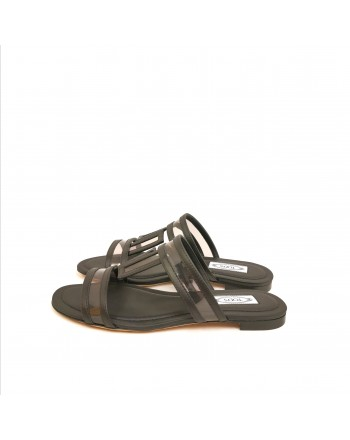 TOD'S - Leather Sandals - Grey/Black