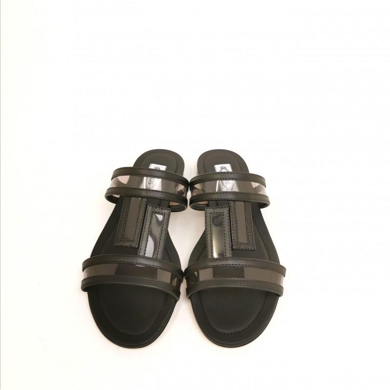 TOD'S - Sandalo in pelle - Grigio/Nero