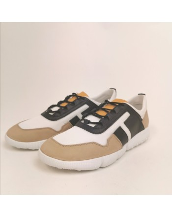TOD'S -  Sneakers in leather and technical fabric - Beige/White