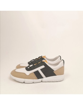 TOD'S - Sneakers in pelle e tessuto tecnico - Beige/Bianco