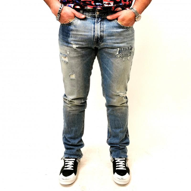 FRANKIE MORELLO - Jeans EINSTEIN 5 Tasche con Strappi - Denim