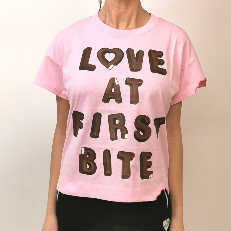LOVE MOSCHINO - Cotton T-Shirt LOVE BITES- Pink