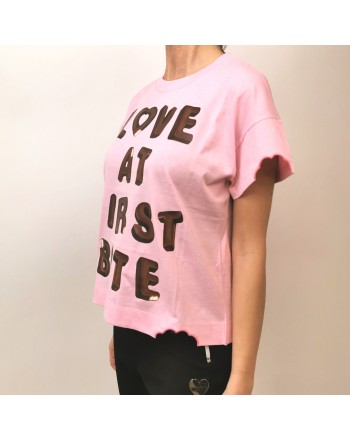 LOVE MOSCHINO - T-Shirt in Cotone LOVE BITES - Rosa