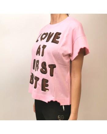 LOVE MOSCHINO - T-Shirt in Cotone LOVE BITES - Rosa