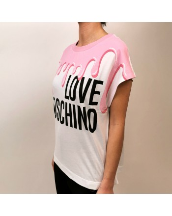 LOVE MOSCHINO - Cotton T-Shirt Melted Print- White/Pink