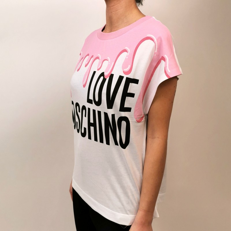 LOVE MOSCHINO - T-Shirt in Cotone Stampa Colata - Bianco/Rosa