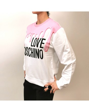 LOVE MOSCHINO - Cotton Sweatshirt with Melted Print -Pink
