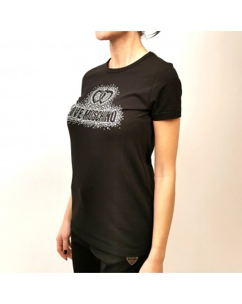 LOVE MOSCHINO - TShirt in Cotone con Logo Strass - Nero