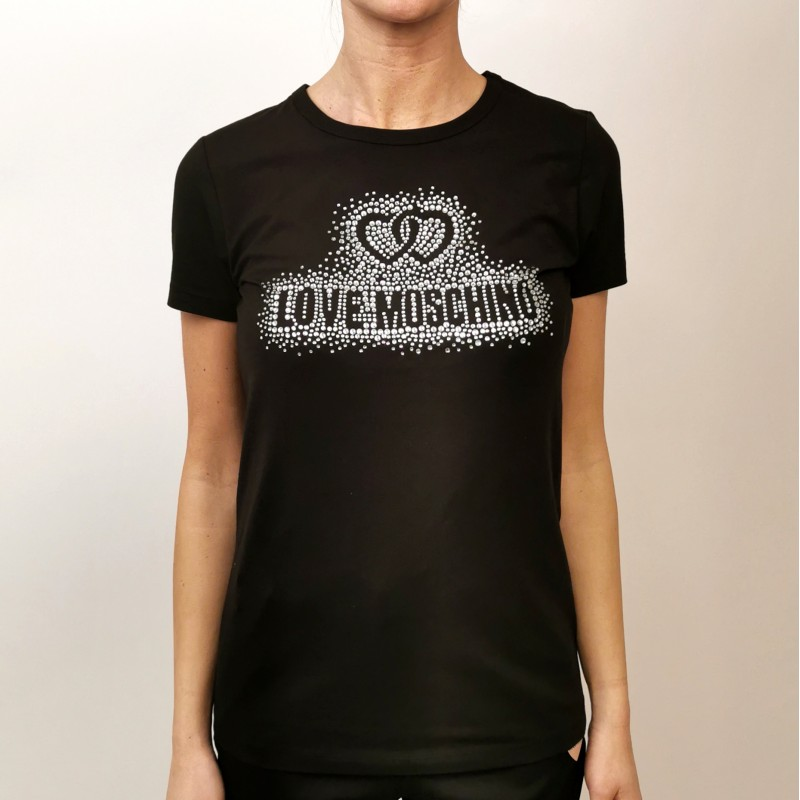 LOVE MOSCHINO - Cotton T-Shirt with Rhinestones Logo - Black