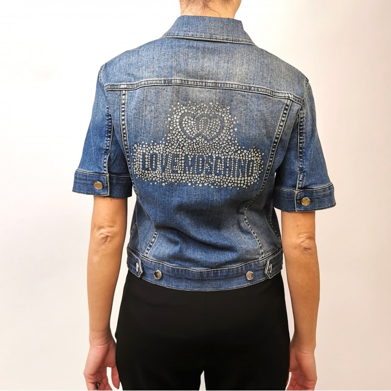 LOVE MOSCHINO - Giubbino in Jeans Logo Strass - Denim