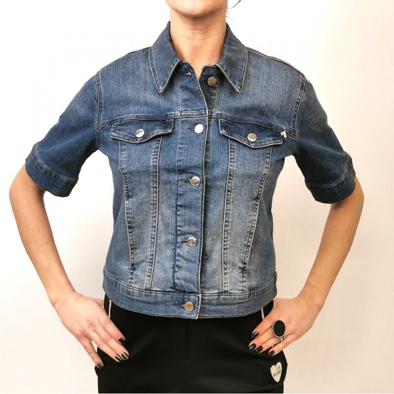 LOVE MOSCHINO - Denim Jacket with Rhinestones Logo - Denim