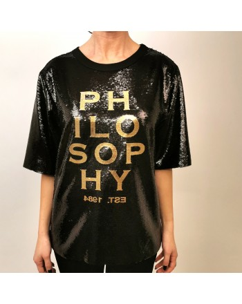 PHILOSOPHY di LORENZO SERAFINI -  Full Paillettes Logo Shirt  - Black