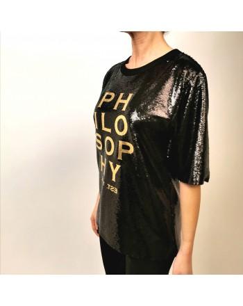 PHILOSOPHY di LORENZO SERAFINI - Camicia Full Paillettes con Logo - Nero