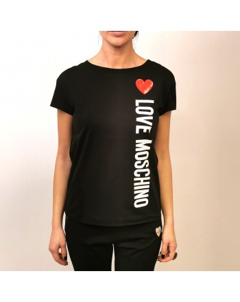 LOVE MOSCHINO - Cotton T-Shirt with Heart- Black