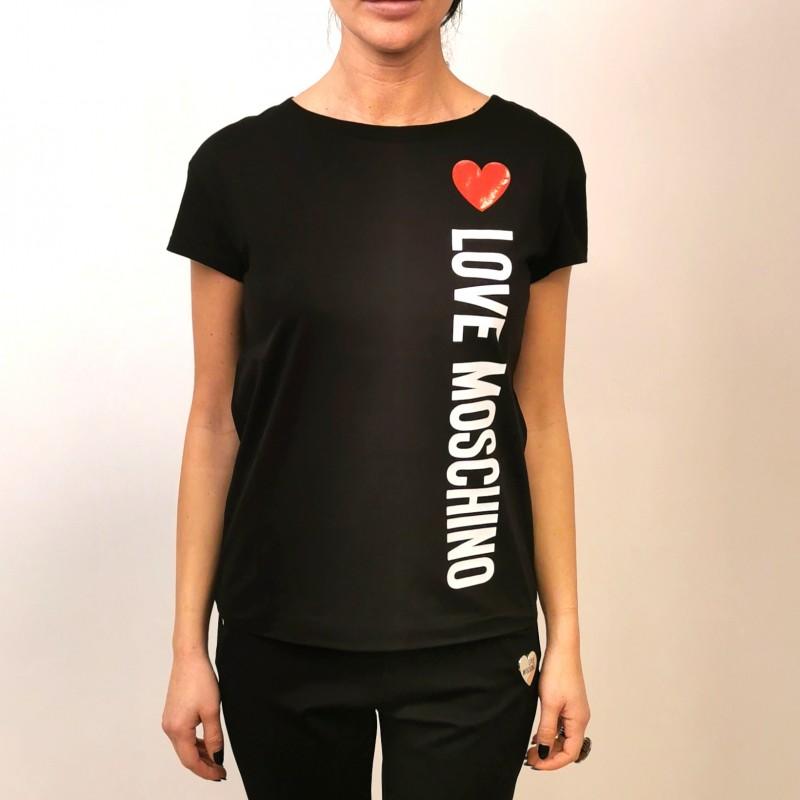 LOVE MOSCHINO - T-Shirt in Cotone con Cuore - Nero