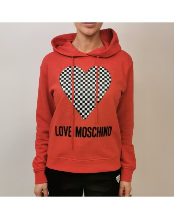 LOVE MOSCHINO - Cotton Hood Sweatshirt with Heart - Red