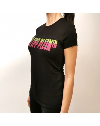 PHILIPP PLEIN - T-Shirt con Logo Strass Fluo- Nero