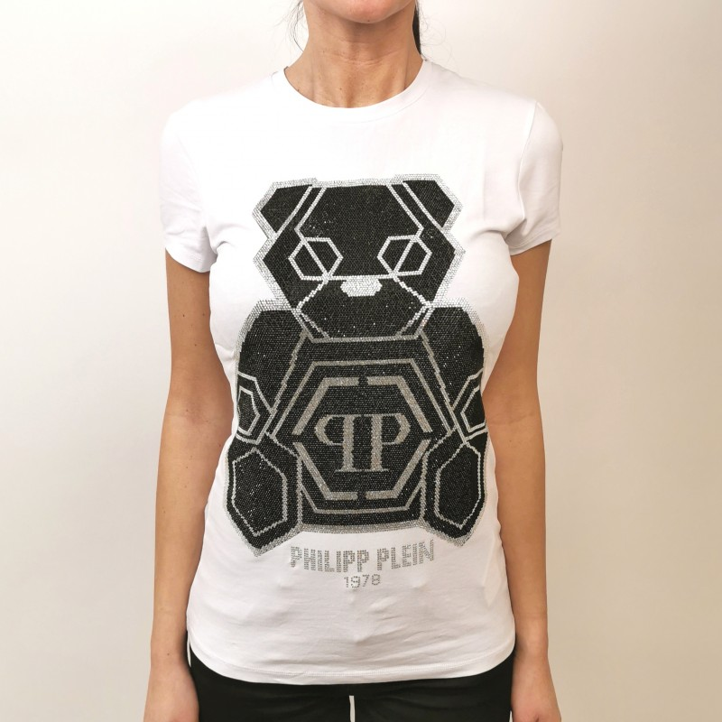 PHILIPP PLEIN - T-Shirt con Orsetto Strass - Bianco