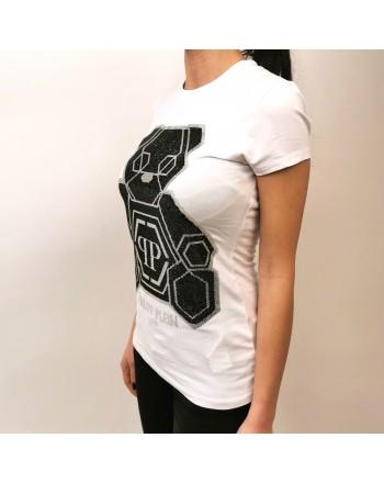 PHILIPP PLEIN - T-Shirt con Orsetto Strass - Bianco
