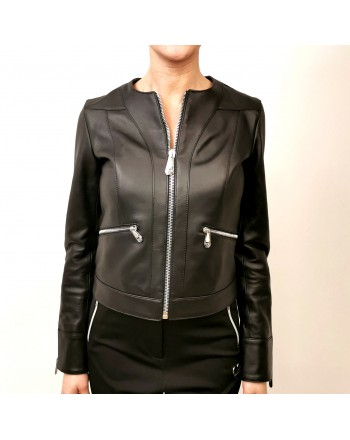 PHILIPP PLEIN - Leather Jacket with Backside Metallic Logo - Black