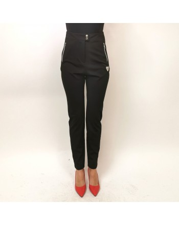 LOVE MOSCHINO - High Waist Zipper Trousers - Black