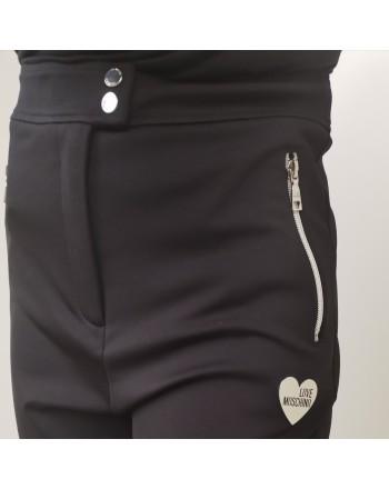 LOVE MOSCHINO - High Waist Zipper Trousers - Black